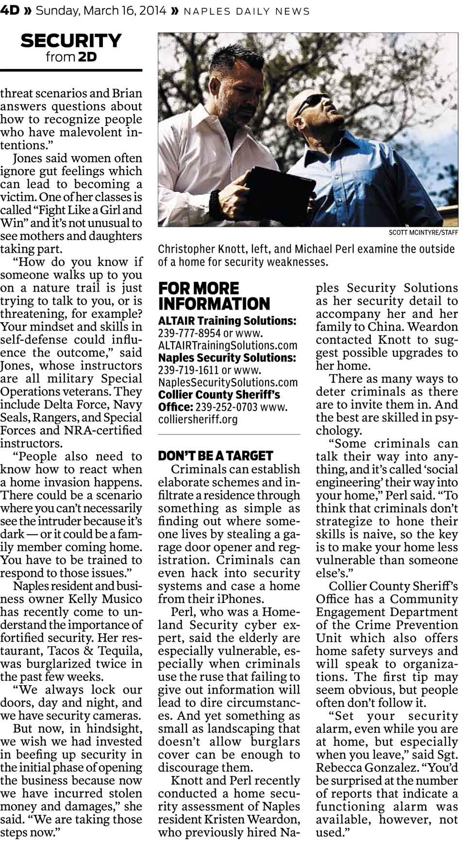 Naples Security Solutions in Naples Daily News